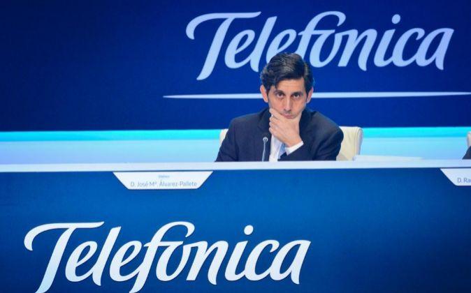 José María Álvarez-Pallete, presidente de Telefónica, en la...