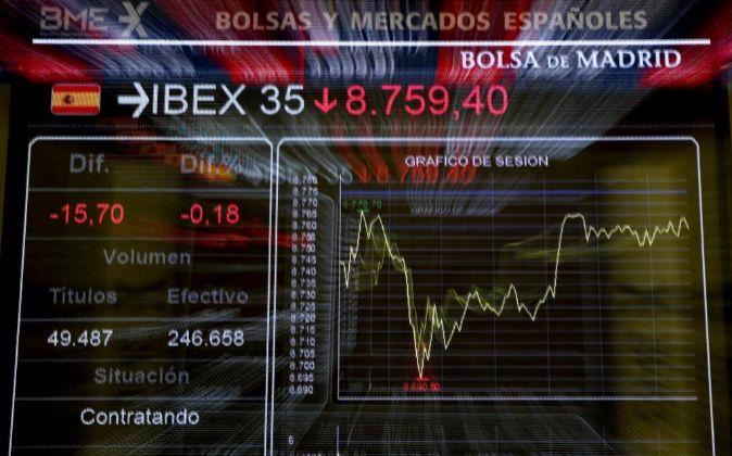 Panel informativo de la Bolsa de España que muestra el principal...