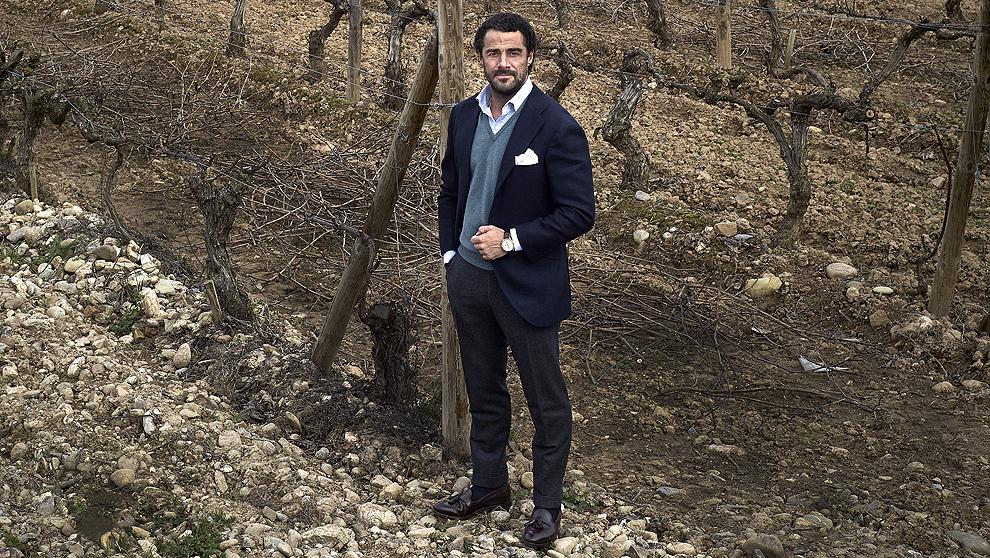 Vicente D. Cebrián-Sagarriga, 46 años, en sus viñedos.