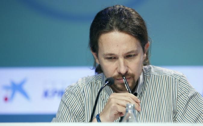El secretario general de Podemos, Pablo Iglesias, durante su...