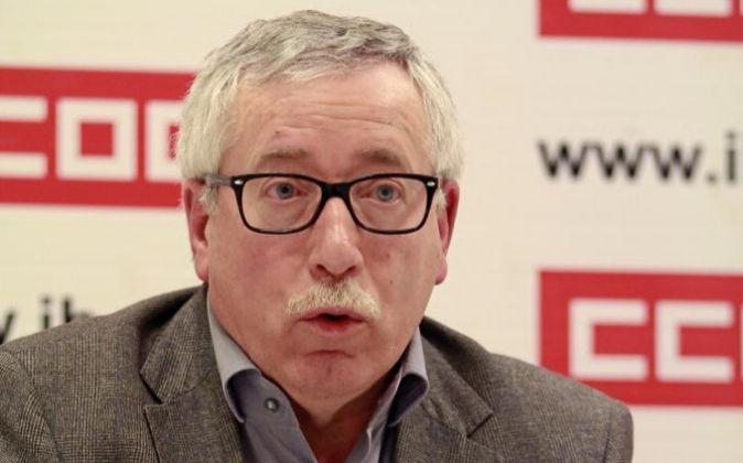 El secretario general de Comisiones Obreras (CCOO) Ignacio Fernández...