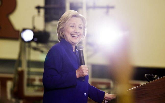 Hillary Clinton durante un acto de campaña en Newark, Nueva Jersey.
