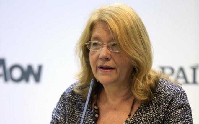 La presidenta de la CNMV, Elvira Rodríguez, durante su intervención...