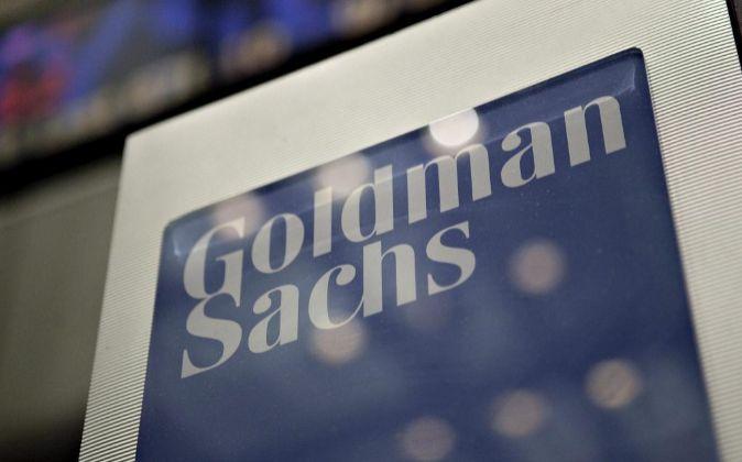 Logo de Goldman Sachs en Wall Street.