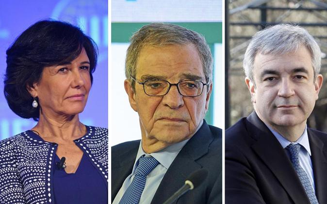 La presidenta del Banco Santander, Ana Botín, el presidente ejecutivo...