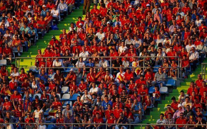 Aficionados de la selección española.