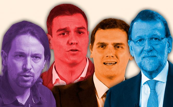De izquierda a derecha, los secretarios generales de Podemos, PSOE y...