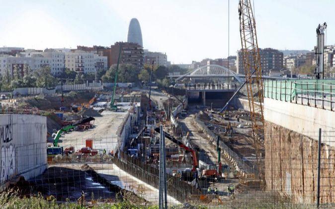 Las obras del tren de alta velocidad en la estación de La Sagrera.