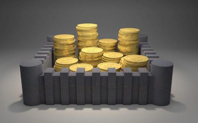 Ilustración de monedas dentro de una fortaleza