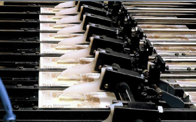 Imagen del proceso de impresión de billetes de 50 euros