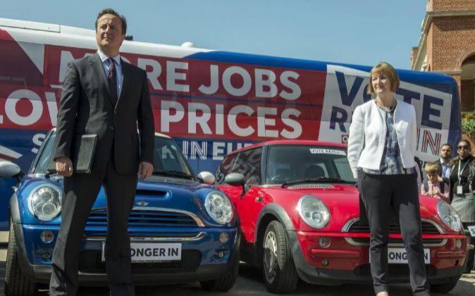 El primer ministro David Cameron durante un acto de campaña en favor...