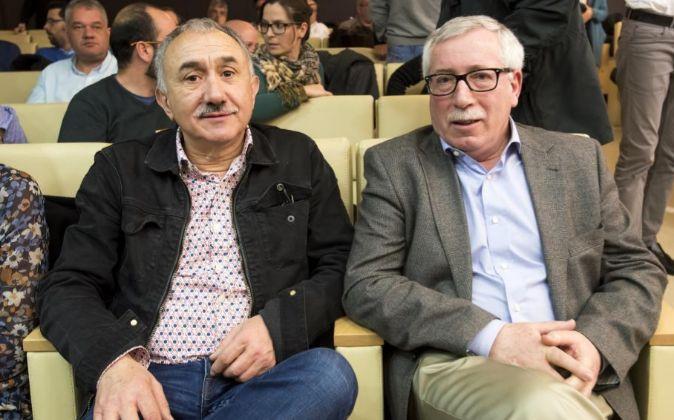 Josep María Álvarez, secretario general de UGT, e Ignacio Fernández...