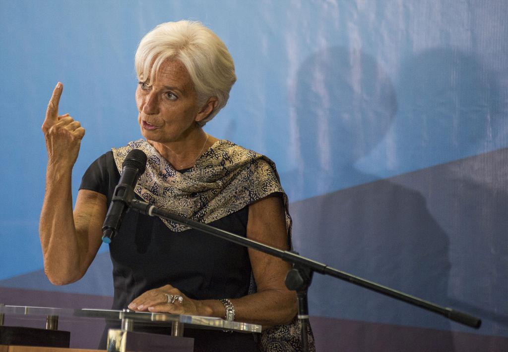 Christine Lagarde, en la Universidad de Yakarta, en mayo de 2015.