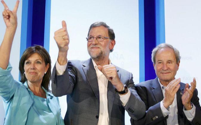 El presidente del Gobierno en funciones y del Partido Popular, Mariano...