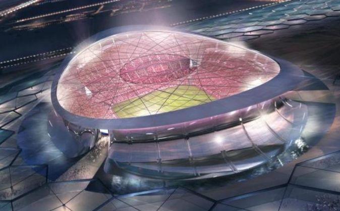 Ilustración del Estadio Lusail Iconic, uno de los que serán sede del...