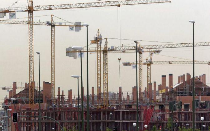 Una promoción de viviendas en construcción en Madrid.