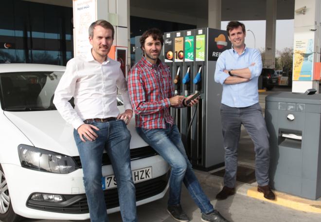 Los fundadores de GasPay, de izquierda a derecha, Matt Heusch, Jorge...
