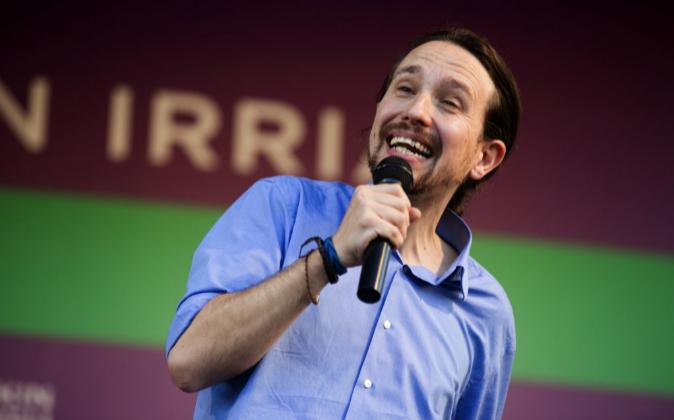 El secretario general de Podemos, Pablo Iglesias, durante el mitin que...