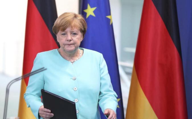 La canciller alemana, Angela Merkel, hoy durante su intervención tras...