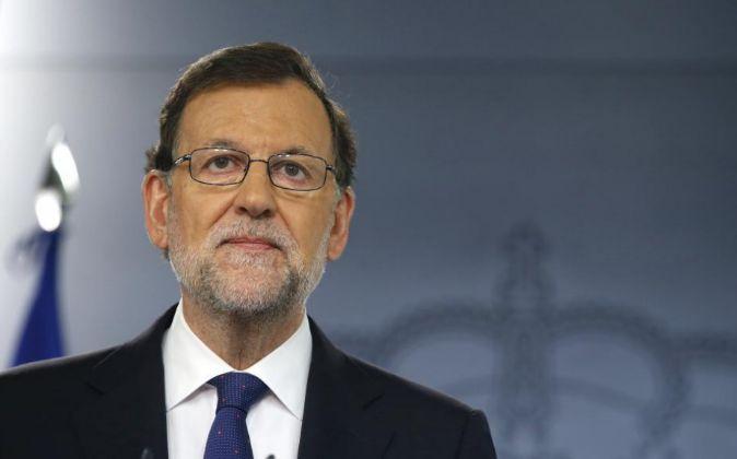 El presidente del Gobierno, Mariano Rajoy, durante su comparecencia en...