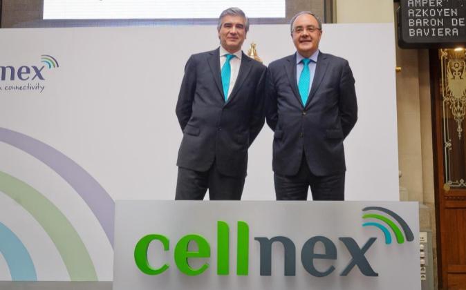 Francisco Reynés, presidente de Cellnex y el consejero delegado...