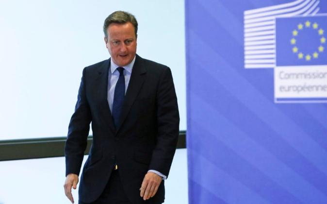 El primer ministro británico, David Cameron, a su llegada hoy a la...