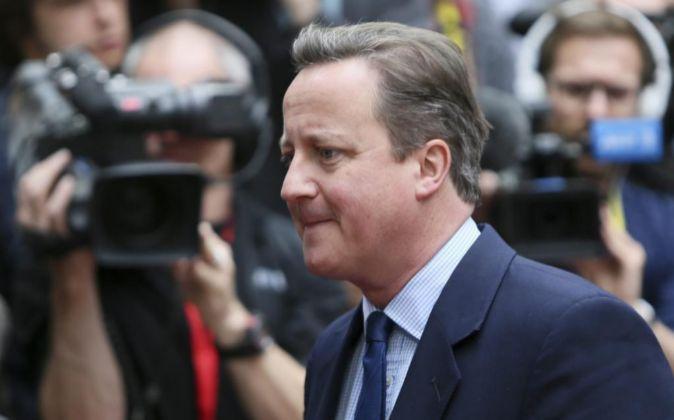 El primer ministro británico David Cameron a su llegada al Consejo...