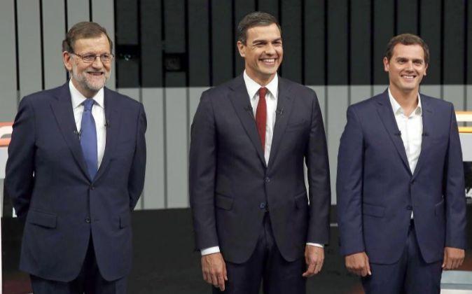 Mariano Rajoy, Albert Rivera y Pedro Sánchez.
