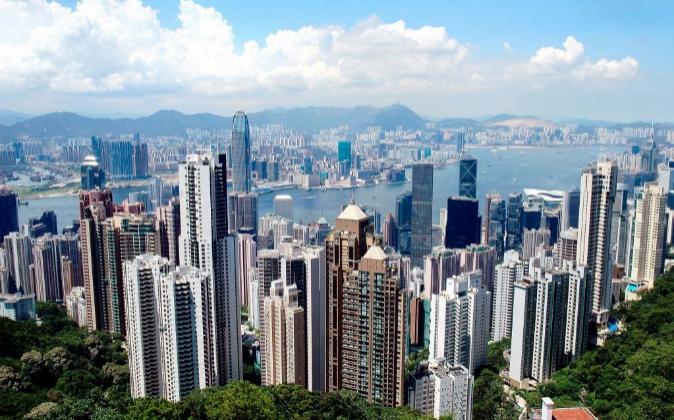 Vista aérea de Hong Kong, una de las ciudades con mayor densidad de...