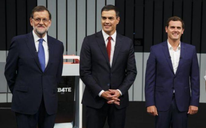 Mariano Rajoy, Pedro Sánchez y Albert Rivera.