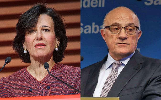 Ana Botín, presidenta de Banco Santander (izquierda), y Josep Oliu,...