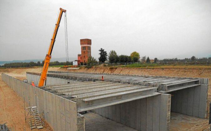 Obras de construcción de una autopista de Sacyr