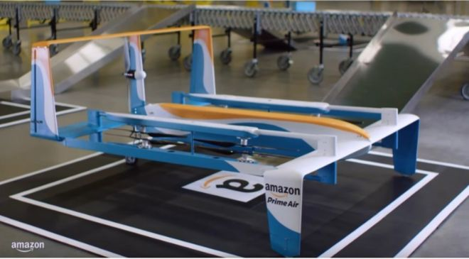 Prototipo de dron de reparto de Amazon.