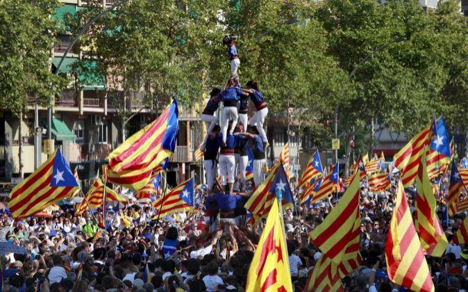 Manifestación el día de la Diada de 2015 en Barcelona.