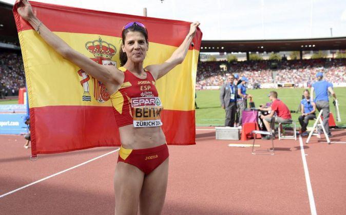 La saltadora de altura española Ruth Beitia durante el Campeonato...
