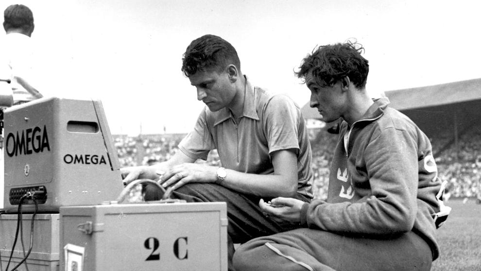 Londres, 1948 El atleta sueco Rune Larsson (dcha.), bronce en la...
