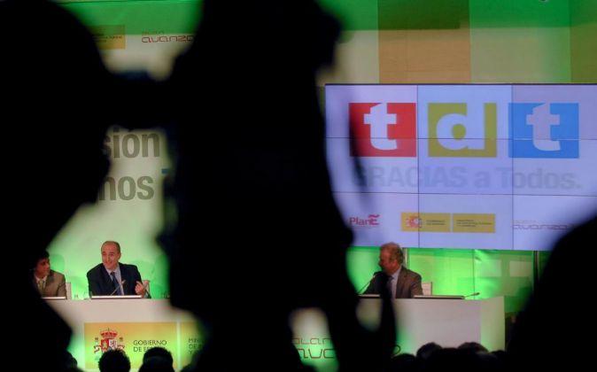 Acto presentacion de la TDT en 2010, con la presencia de Miguel...