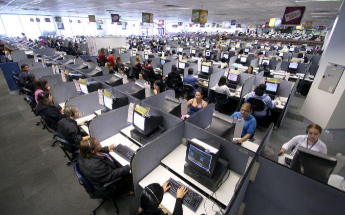 Call center de Atento en Sao Bernardo do Campo (Sao Paulo, Brasil).