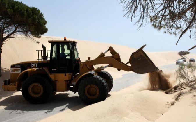 La excavadora retira arena de la duna de Valdevaqueros en Tarifa...