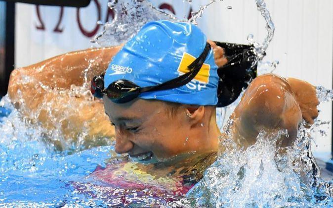 Belmonte en el momento después de conseguir su primer oro olímpico.