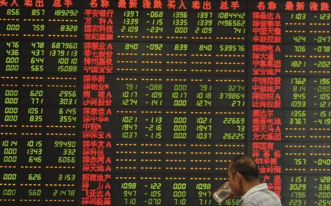 Imagen de pantallas de información bursátil en China