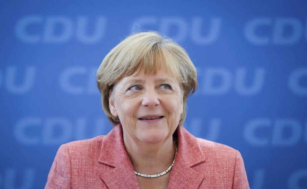 La canciller alemana, Angela Merkel, en una reunión del partido en la...