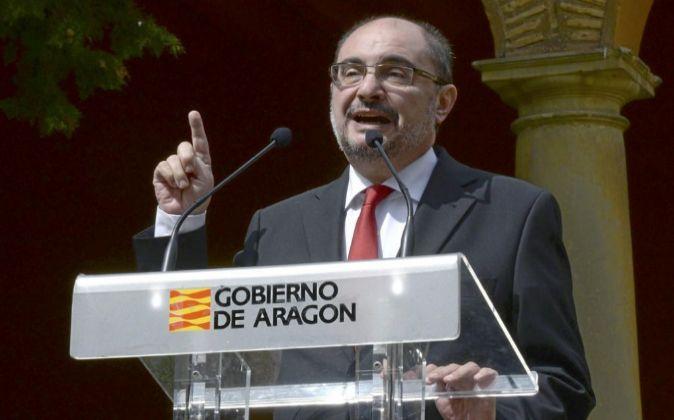 El presidente de Aragón, Javier Lambán, en un discursoen la...