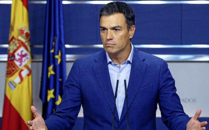 Pedro Sánchez durante una comparecencia ante la prensa.