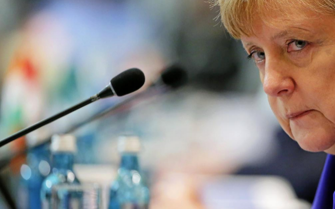 La canciller de Alemania Angela Merkel, el pasado 25 de mayo durante...