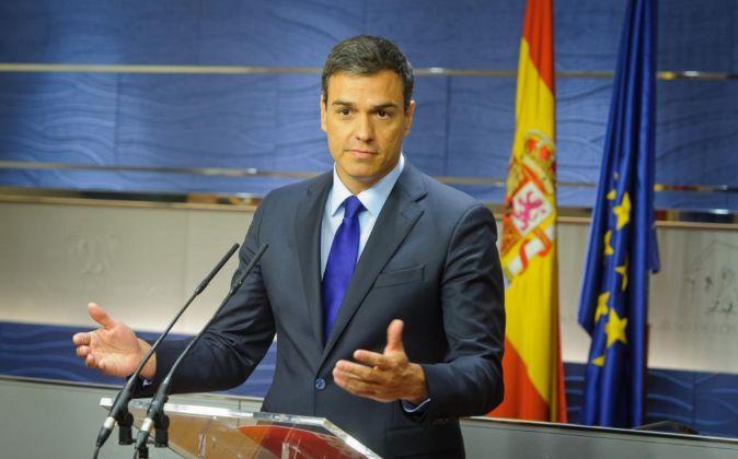 Pedro Sánchez durante una rueda de prensa. Foto de archivo.