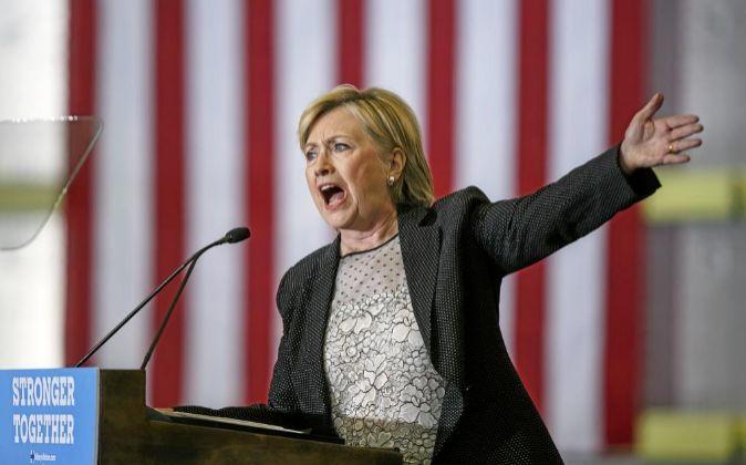 Hillary Clinton, en un acto de campaña en Warren, Michigan-