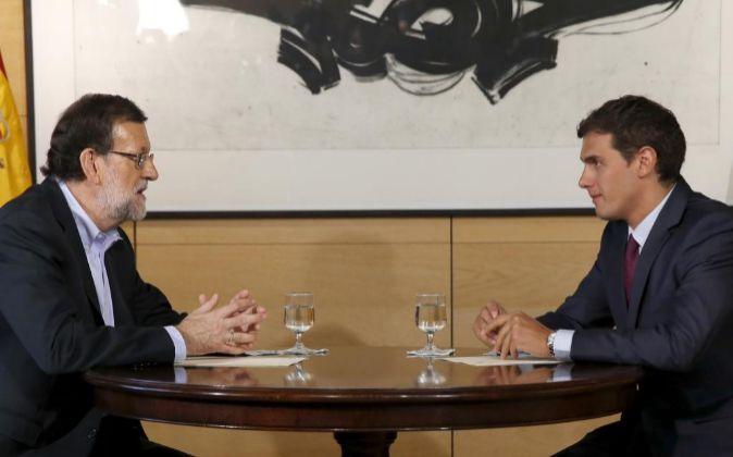 Mariano Rajoy en una de las reuniones con Albert Rivera que se han...