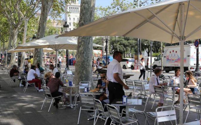 Terraza de un bar en Barcelona.