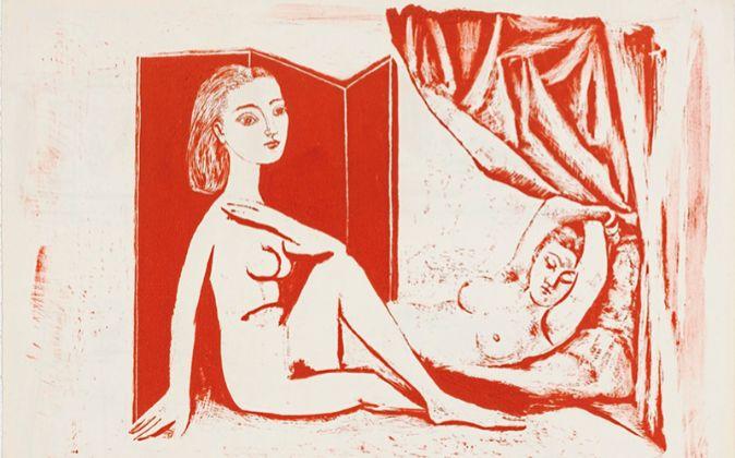 'Two Nude Women', del 5 de enero de 1946. Litografía en...
